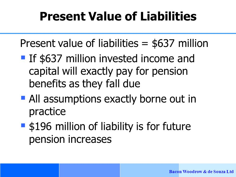 Bacon Woodrow & de Souza Ltd Present Value of Liabilities Present value of liabilities = $637 million  If $637 million invested income and capital will exactly pay for pension benefits as they fall due  All assumptions exactly borne out in practice  $196 million of liability is for future pension increases