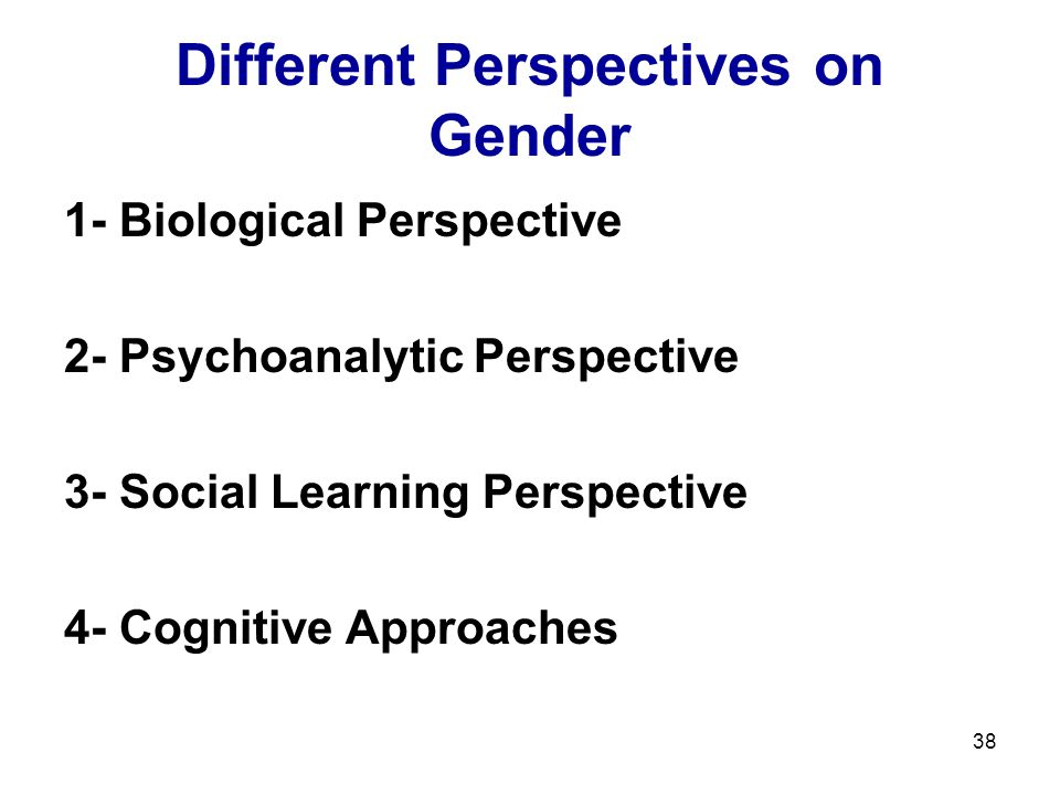 38 Different Perspectives on Gender 1- Biological Perspective 2- Psychoanalytic Perspective 3- Social Learning Perspective 4- Cognitive Approaches