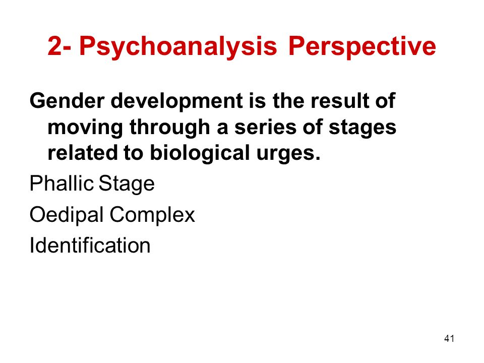 41 2- Psychoanalysis Perspective Gender development is the result of moving through a series of stages related to biological urges.