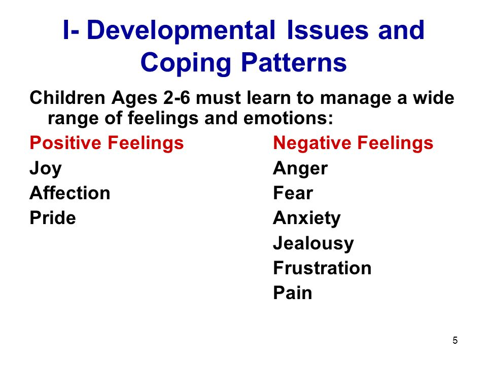 5 I- Developmental Issues and Coping Patterns Children Ages 2-6 must learn to manage a wide range of feelings and emotions: Positive FeelingsNegative Feelings JoyAnger AffectionFear PrideAnxiety Jealousy Frustration Pain