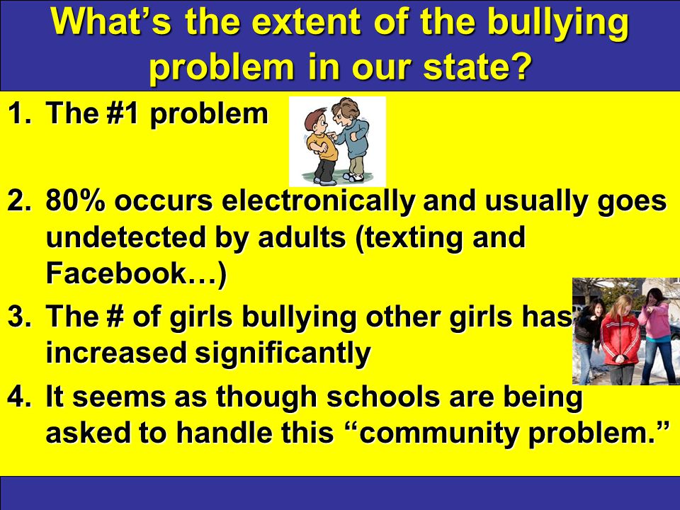 What's the extent of the bullying problem in our state.