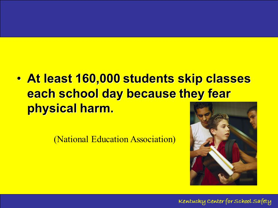 Bullying in Kentucky Schools There were 20,172* incidents of harassment and/or bullying in Kentucky Schools during the 2013-14 school year… or 4 incidents every minute.There were 20,172* incidents of harassment and/or bullying in Kentucky Schools during the 2013-14 school year… or 4 incidents every minute.