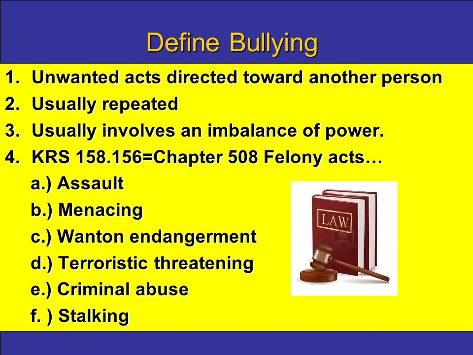 Supplemental requirements to address bullying incidents KRS 158.148 (4) (c) Student Discipline Guidelines: required contents must include:KRS 158.148 (4) (c) Student Discipline Guidelines: required contents must include: 1.Identifying, documenting and reporting.