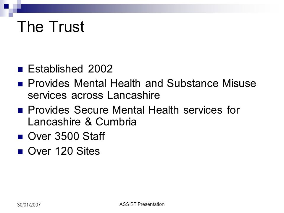 ASSIST Presentation 30/01/2007 LCT Info Systems Pre-Connecting for Health  Six Legacy PAS Systems  Hosted by Acute Trusts  Reliant on Service Level Agreements  No structure to Information provision  No Data Integration