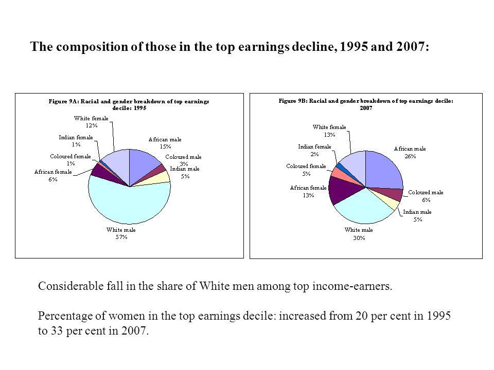 The composition of those in the top earnings decline, 1995 and 2007: Considerable fall in the share of White men among top income-earners.