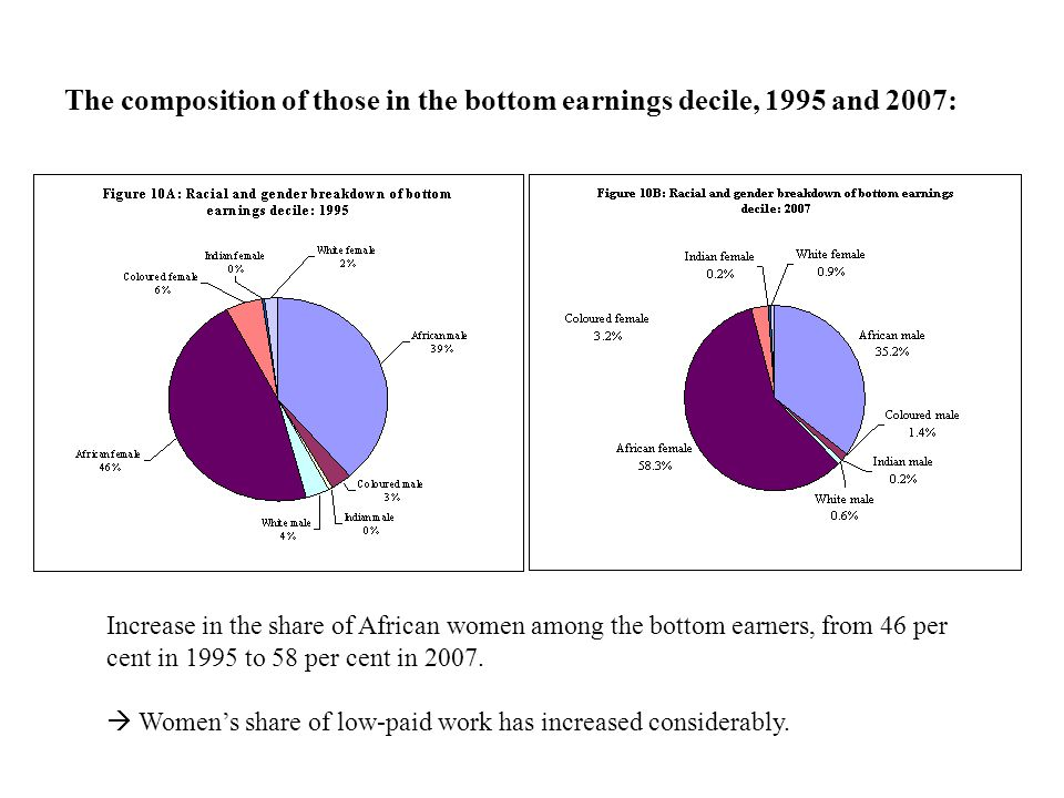 The composition of those in the bottom earnings decile, 1995 and 2007: Increase in the share of African women among the bottom earners, from 46 per cent in 1995 to 58 per cent in 2007.