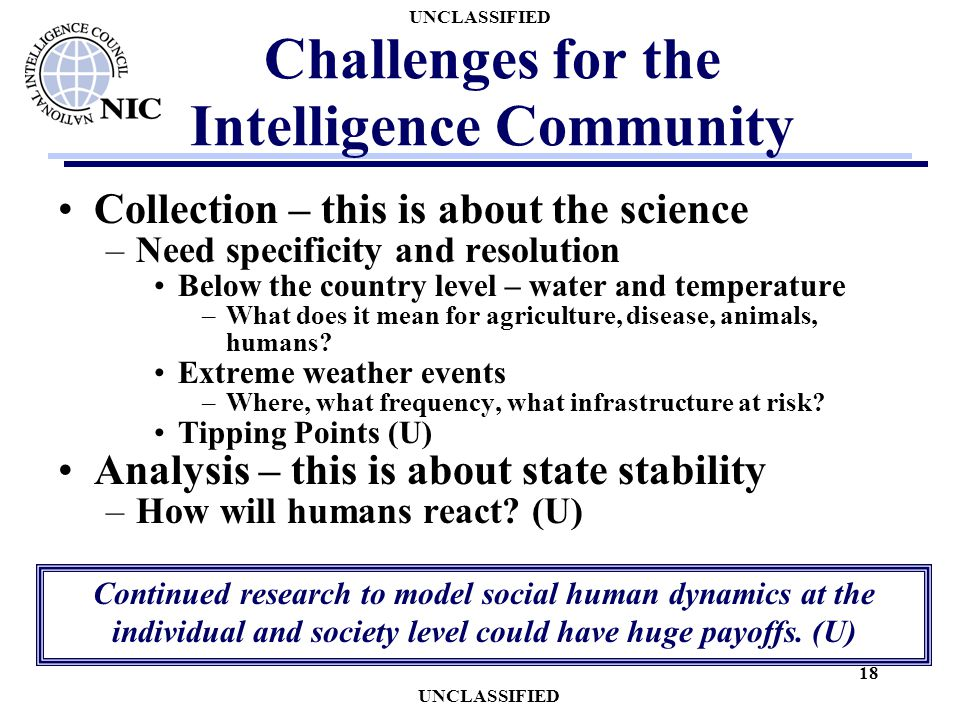 UNCLASSIFIED 18 Challenges for the Intelligence Community Collection – this is about the science –Need specificity and resolution Below the country level – water and temperature –What does it mean for agriculture, disease, animals, humans.