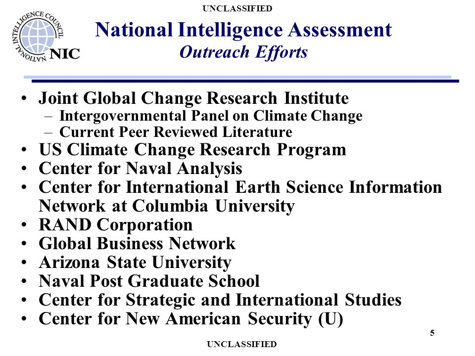 UNCLASSIFIED 5 National Intelligence Assessment Outreach Efforts Joint Global Change Research Institute –Intergovernmental Panel on Climate Change –Cu