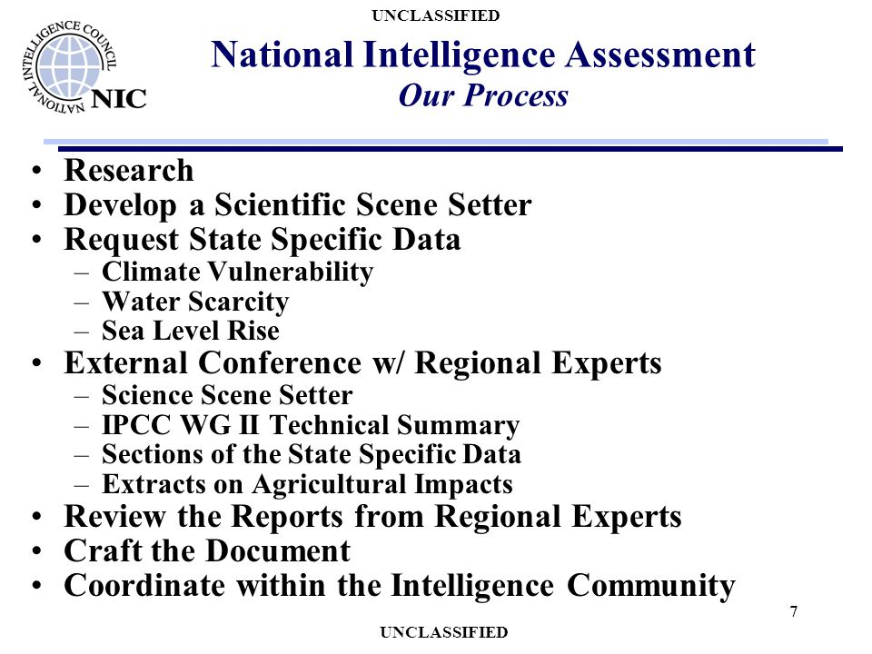 UNCLASSIFIED 7 National Intelligence Assessment Our Process Research Develop a Scientific Scene Setter Request State Specific Data –Climate Vulnerabil