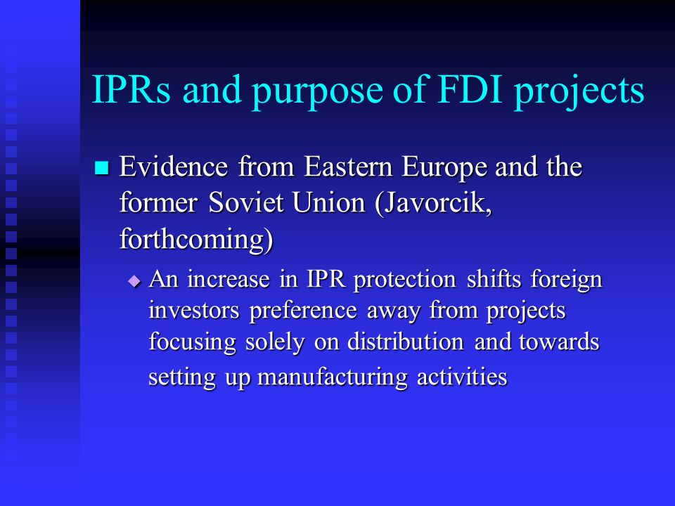 What matters for FDI is Enforcement High incidence of corruption => weak enforcement High incidence of corruption => weak enforcement  Corruption acts as a tax on foreign investors, deterring FDI inflows (Wei, 2000)  Corruption shifts investors' preference away from wholly-owned subsidiaries and towards joint ventures (Javorcik and Wei, 2001)