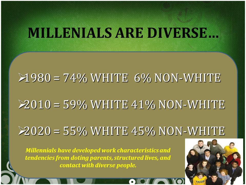 MILLENIALS ARE DIVERSE…  1980 = 74% WHITE 6% NON-WHITE  2010 = 59% WHITE 41% NON-WHITE  2020 = 55% WHITE 45% NON-WHITE Millennials have developed work characteristics and tendencies from doting parents, structured lives, and contact with diverse people.