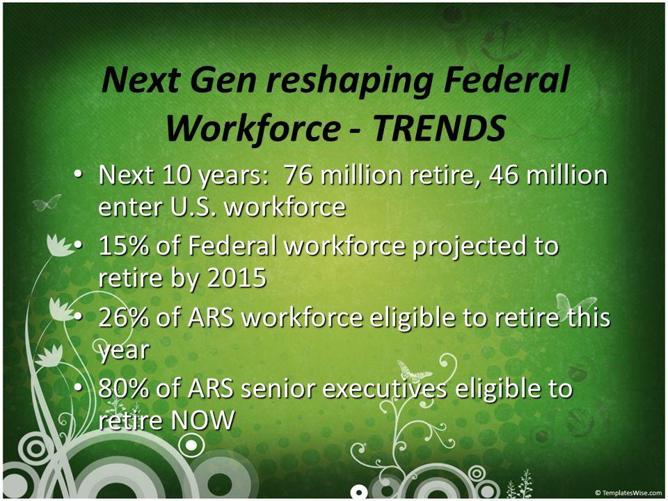 Next Gen reshaping Federal Workforce - TRENDS Next 10 years: 76 million retire, 46 million enter U.S.