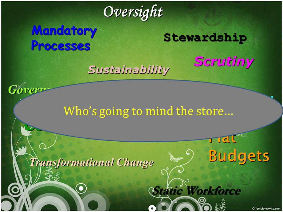 Mandatory Processes Government Reform Complexity Oversight Scrutiny Stewardship Accountability Flat Budgets Static Workforce Sustainability Transformational Change Bold moves Who's going to mind the store…