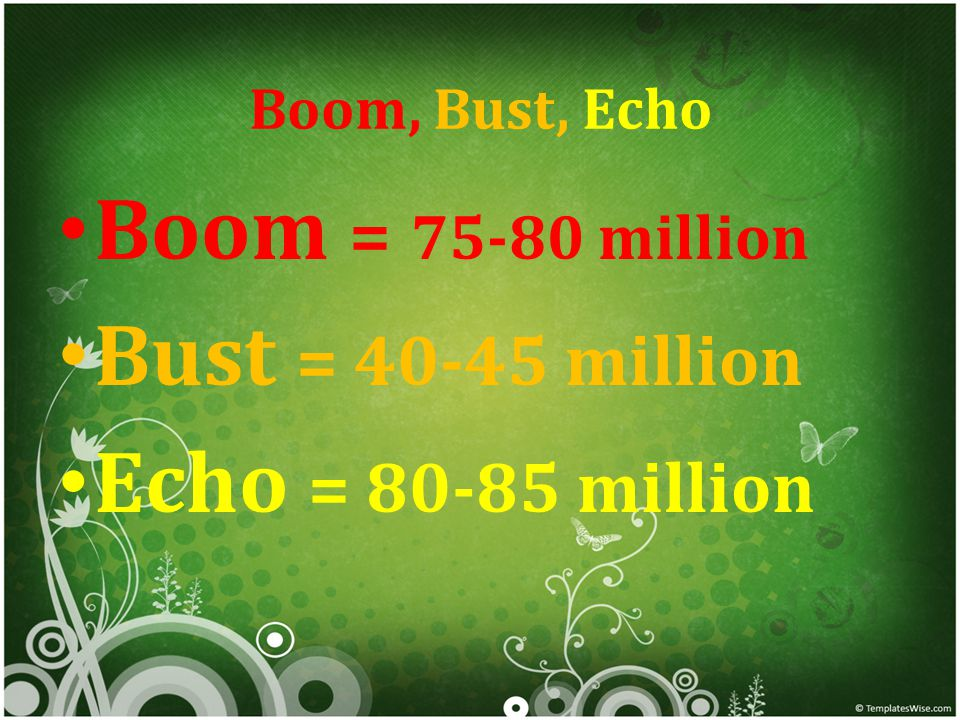 Boom, Bust, Echo Boom = 75-80 million Bust = 40-45 million Echo = 80-85 million