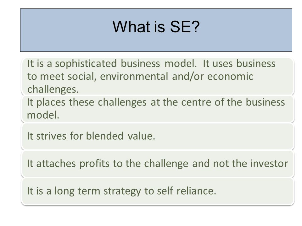 What is SE. It is a sophisticated business model.
