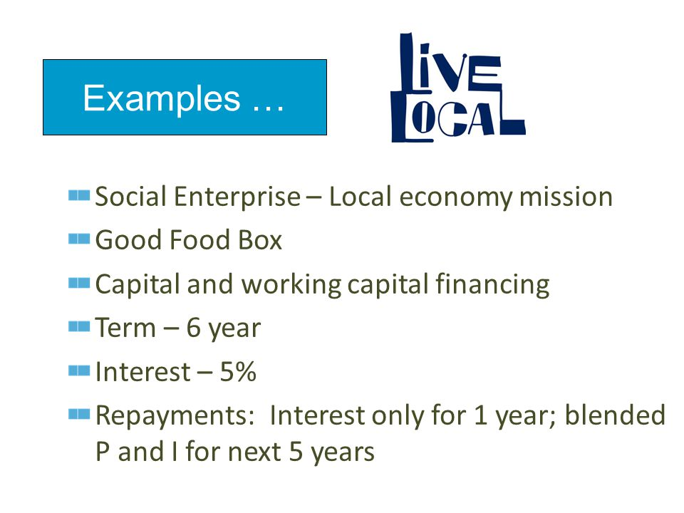 Social Enterprise – Local economy mission Good Food Box Capital and working capital financing Term – 6 year Interest – 5% Repayments: Interest only for 1 year; blended P and I for next 5 years Examples …