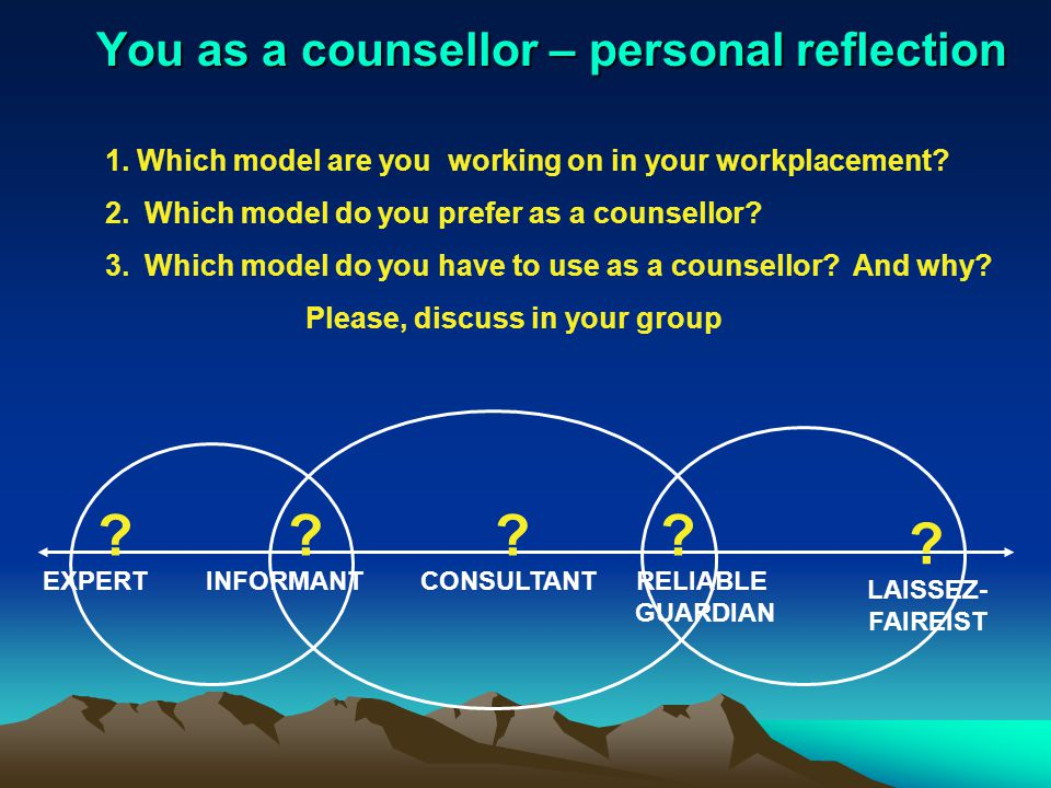 You as a counsellor – personal reflection .