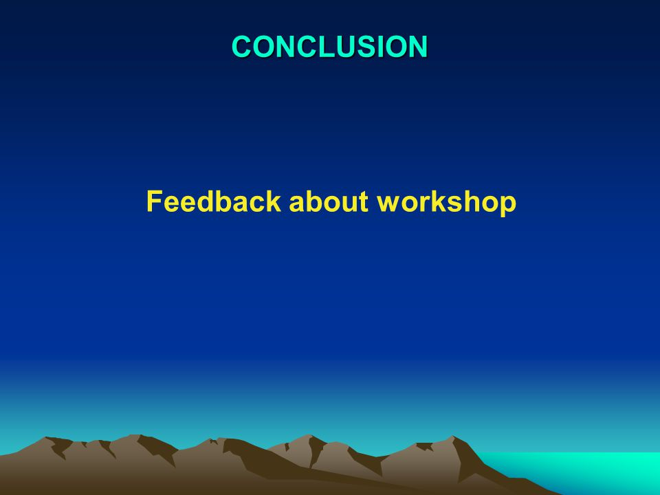 CONCLUSION Feedback about workshop