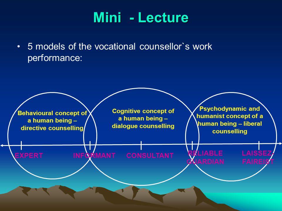 Characteristics of 5 models` The expert and informant Laissez – faireist and reliable Laissez – faireist and reliable guardian guardian Consultant Consultant