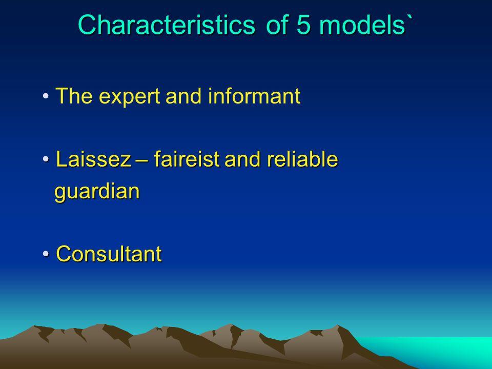 Characteristics of 5 models` The expert and informant Laissez – faireist and reliable Laissez – faireist and reliable guardian guardian Consultant Con