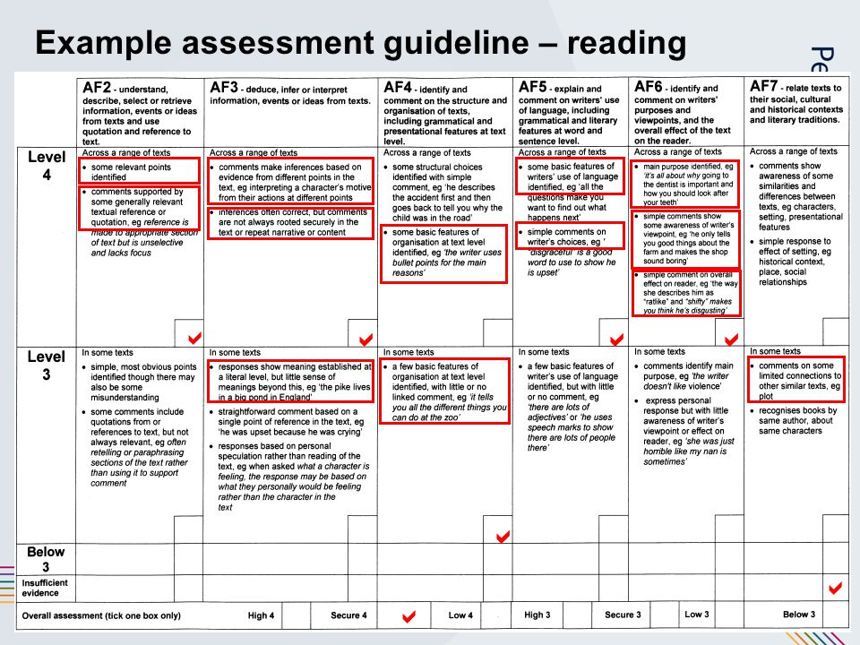 16 Example assessment guideline – reading     
