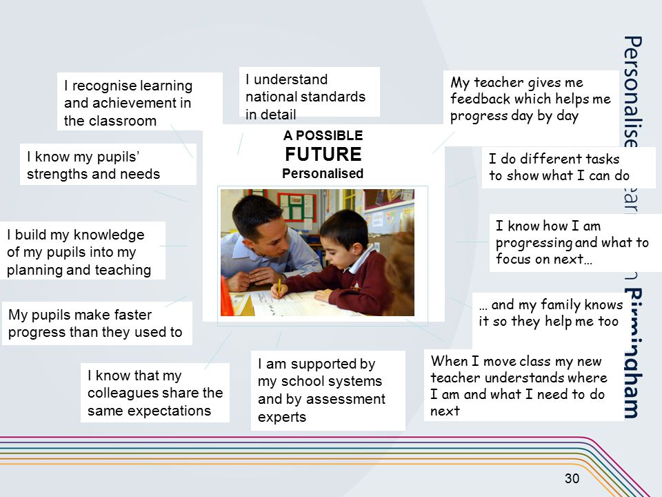 30 A POSSIBLE FUTURE Personalised I know that my colleagues share the same expectations I am supported by my school systems and by assessment experts My teacher gives me feedback which helps me progress day by day I know how I am progressing and what to focus on next… I do different tasks to show what I can do When I move class my new teacher understands where I am and what I need to do next … and my family knows it so they help me too I build my knowledge of my pupils into my planning and teaching I know my pupils' strengths and needs I understand national standards in detail I recognise learning and achievement in the classroom My pupils make faster progress than they used to