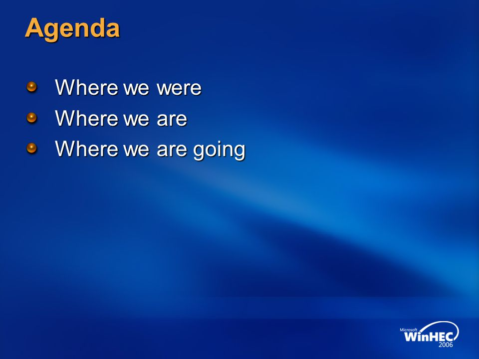 Agenda Where we were Where we are Where we are going