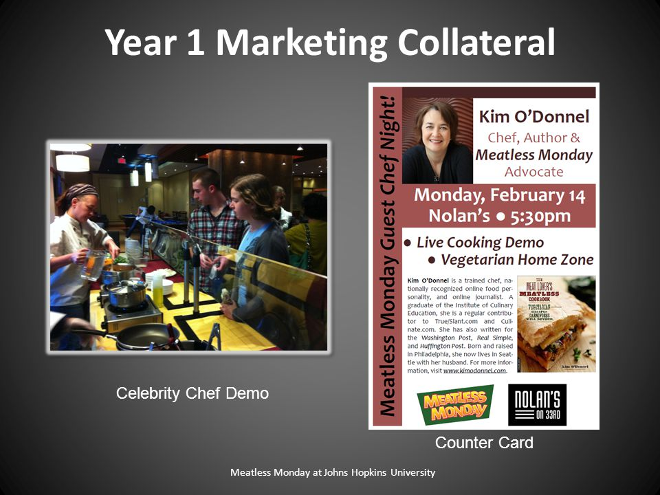 Meatless Monday at Johns Hopkins University Counter Card Year 1 Marketing Collateral Celebrity Chef Demo