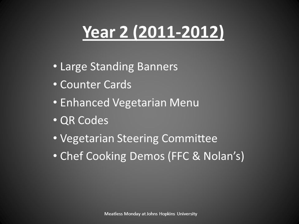 Meatless Monday at Johns Hopkins University Large Standing Banners Counter Cards Enhanced Vegetarian Menu QR Codes Vegetarian Steering Committee Chef Cooking Demos (FFC & Nolan's) Year 2 (2011-2012)