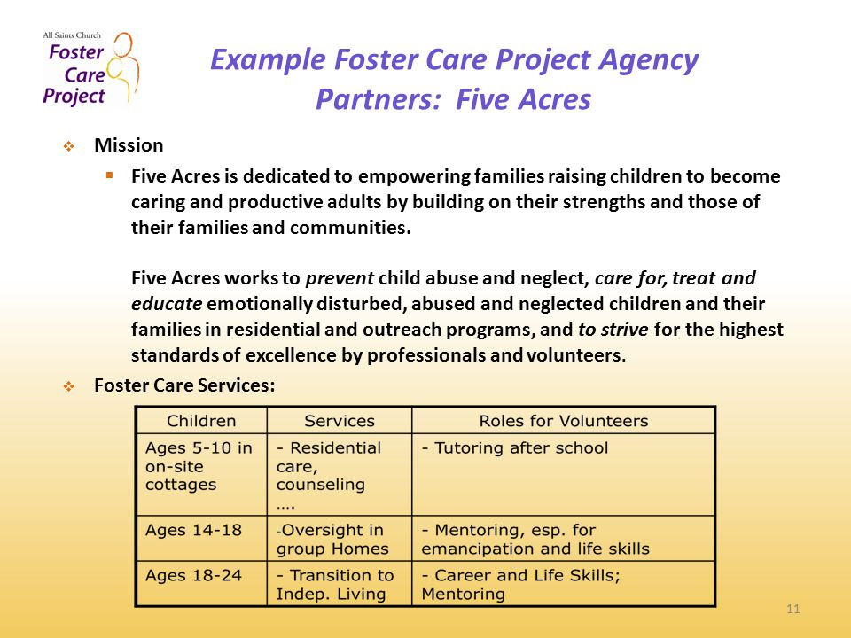 Example Foster Care Project Agency Partners: Five Acres 11  Mission  Five Acres is dedicated to empowering families raising children to become caring and productive adults by building on their strengths and those of their families and communities.