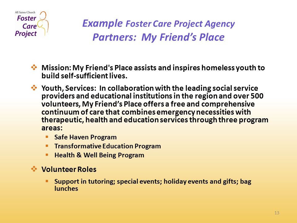 Example Foster Care Project Agency Partners: My Friend's Place 13  Mission: My Friend s Place assists and inspires homeless youth to build self-sufficient lives.
