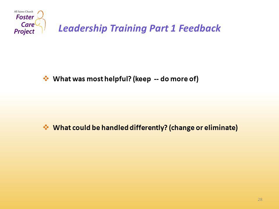 Leadership Training Part 1 Feedback 28  What was most helpful.