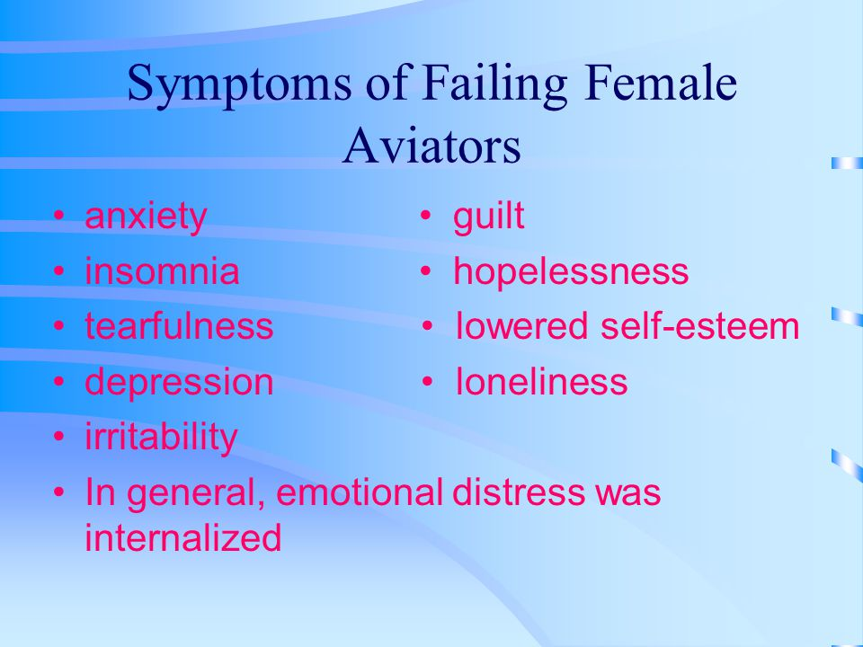 Symptoms of Failing Female Aviators anxiety guilt insomnia hopelessness tearfulness lowered self-esteem depression loneliness irritability In general, emotional distress was internalized