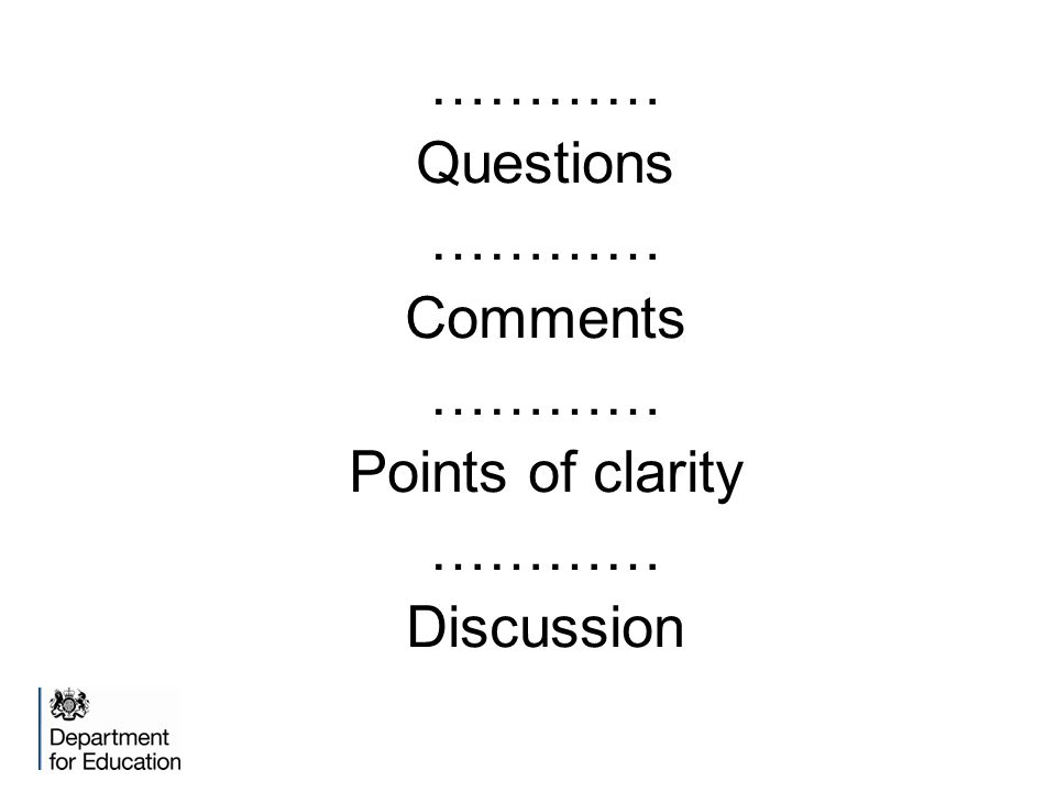 ………… Questions ………… Comments ………… Points of clarity ………… Discussion