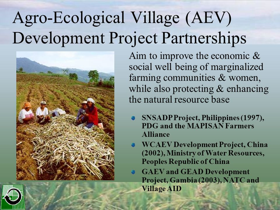 Agro-Ecological Village (AEV) Development Project Partnerships Aim to improve the economic & social well being of marginalized farming communities & women, while also protecting & enhancing the natural resource base SNSADP Project, Philippines (1997), PDG and the MAPISAN Farmers Alliance WCAEV Development Project, China (2002), Ministry of Water Resources, Peoples Republic of China GAEV and GEAD Development Project, Gambia (2003), NATC and Village AID