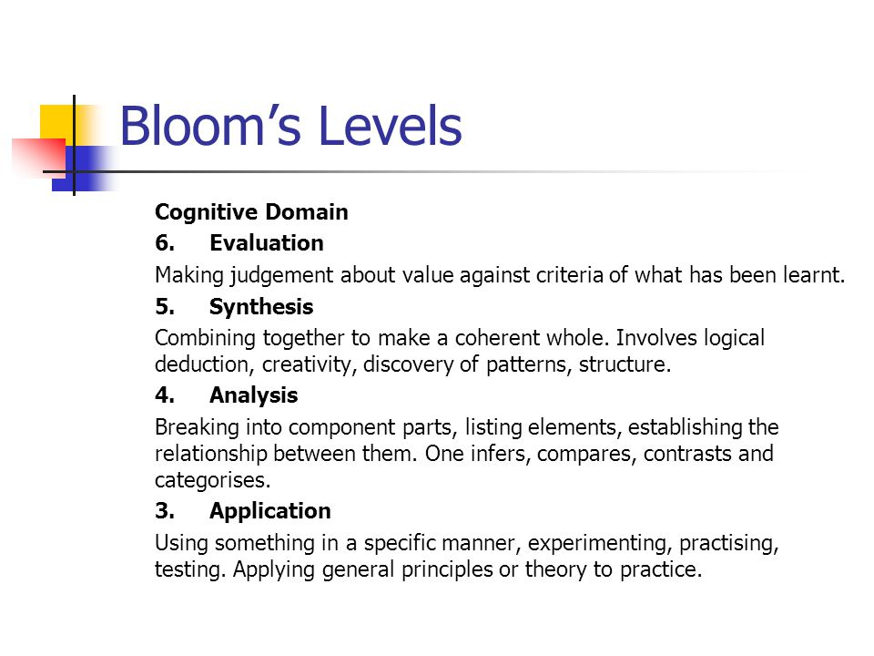 Bloom's Levels Cognitive Domain 6.Evaluation Making judgement about value against criteria of what has been learnt. 5.Synthesis Combining together to