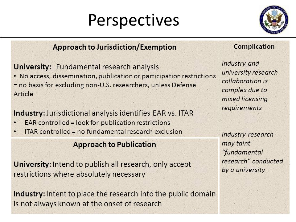 17 Perspectives Approach to Jurisdiction/Exemption University: Fundamental research analysis No access, dissemination, publication or participation re