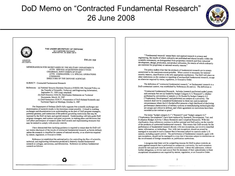 """28 DoD Memo on """"Contracted Fundamental Research"""" 26 June 2008"""