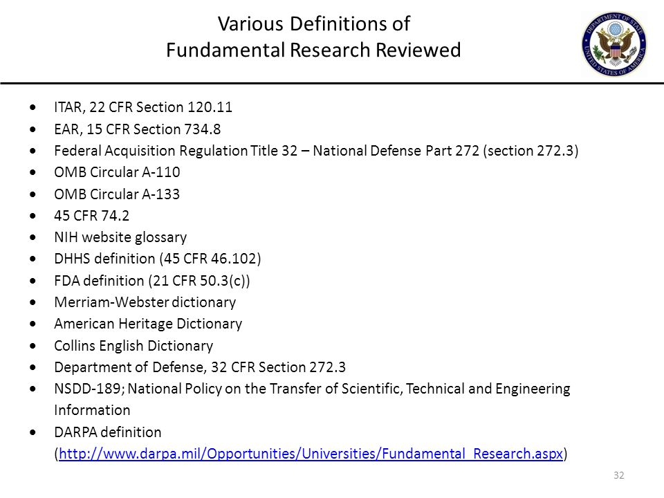 32 Various Definitions of Fundamental Research Reviewed  ITAR, 22 CFR Section 120.11  EAR, 15 CFR Section 734.8  Federal Acquisition Regulation Tit