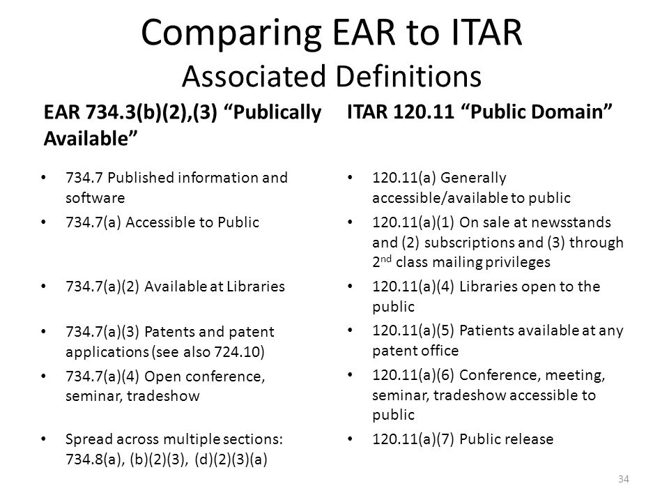 """Comparing EAR to ITAR Associated Definitions EAR 734.3(b)(2),(3) """"Publically Available"""" 734.7 Published information and software 734.7(a) Accessible t"""