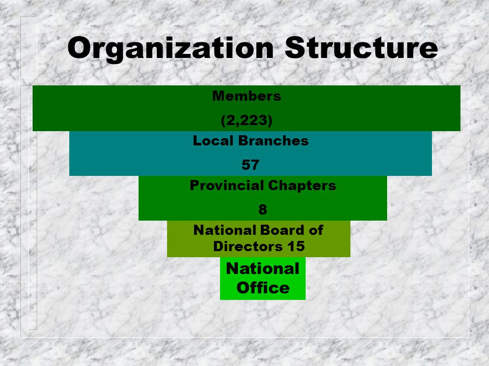 Organization Structure National Office National Board of Directors 15 Provincial Chapters 8 Local Branches 57 Members (2,223)