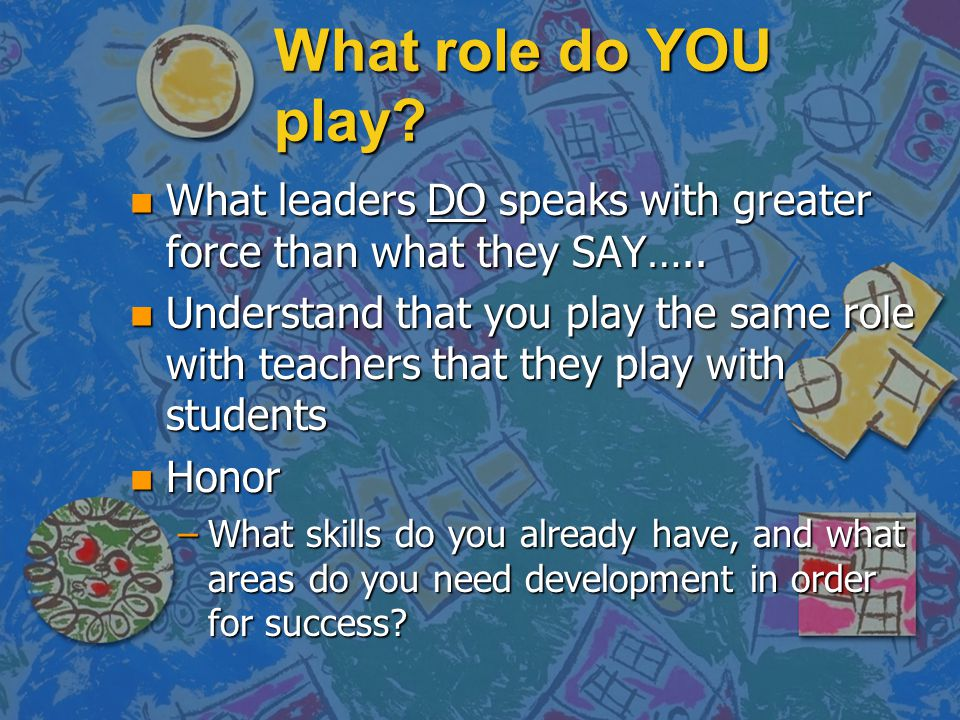 What role do YOU play. n What leaders DO speaks with greater force than what they SAY…..