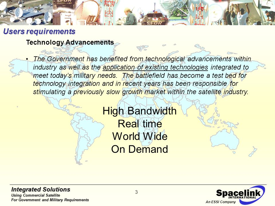 Integrated Solutions Using Commercial Satellite For Government and Military Requirements 4 Over 300 Mbps bandwidth to 130+ tactical terminals, achieved by satellite relocation, network reconfiguration and 8 step site upgrades DSCS: Commercial: Procured 49 Commercial Ku Band Earth Terminals Provided Critical UAV Support (GlobalHawk/Predator/Guardrail) DSCS Commercial 3.2 Gbps Satellite Throughput (Gbps) 305 Mbps 10 times increase Slide Curtsey DISA DoD's Increased Demand