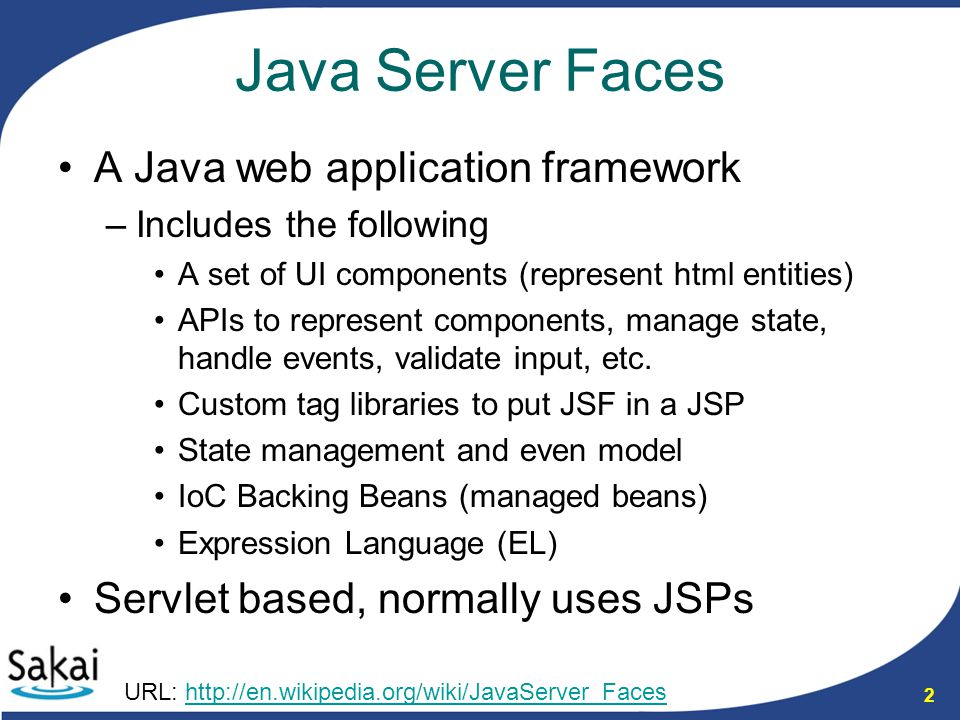 23 JSF structure revisit The template mixes html and presentation logic –Bad for UI designers The faces-config is difficult to maintain (navigation also in the backing bean) –Easy to get out of sync –Syntax not like Spring Backing beans actually work fairly well –One of the saving graces Wrapper bean is extra work to have to deal with –Sometimes have to wrap multiple objects –Requires extra code in the backing bean Template (jsp) Backing Bean (java) Logic Layer (rest of app) faces-config (xml) Wrapper (java) model (java)