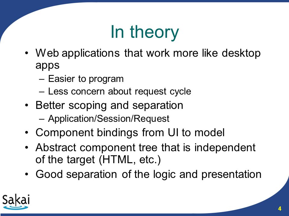 5 In practice Harder to work with than the average web application framework –Big learning curve –Have to understand the request cycle well Especially the ways JSF may short circuit it Prevents you from accessing half the capability of HTML –Abstraction done via custom taglibs which make the templates into JSF XML –Logic in template and custom tags defeat the goal of separation of UI and logic JSF event-model introduces the need for wrappers to actually deal with model –Must keep the component tree and event-model in session