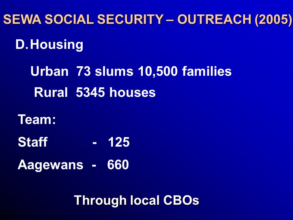 SEWA SOCIAL SECURITY – OUTREACH (2005) D. D.Housing Urban 73 slums 10,500 families Rural 5345 houses Team: Staff - 125 Aagewans - 660 Through local CB