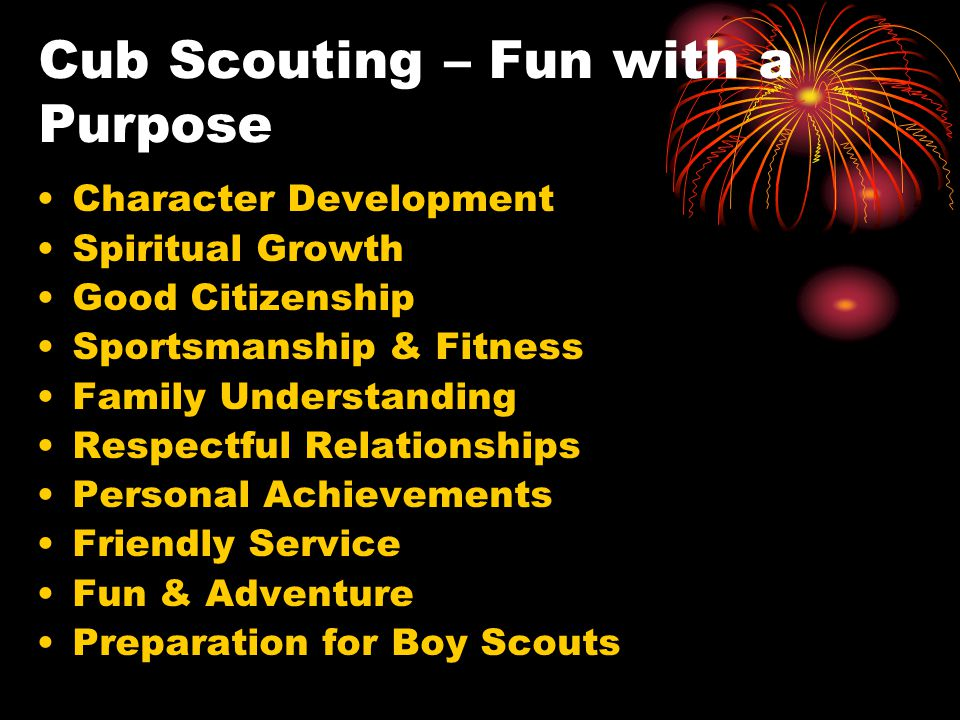 Cub Scouting – Fun with a Purpose Character Development Spiritual Growth Good Citizenship Sportsmanship & Fitness Family Understanding Respectful Relationships Personal Achievements Friendly Service Fun & Adventure Preparation for Boy Scouts