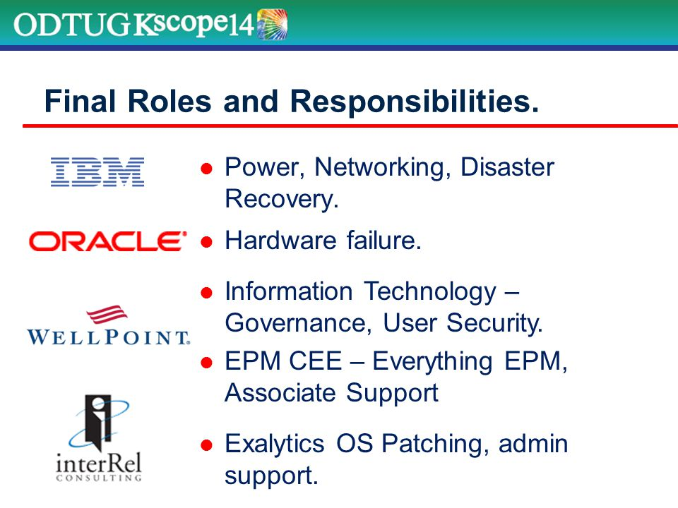 Power, Networking, Disaster Recovery. Final Roles and Responsibilities.