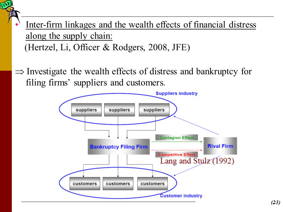 (23)  Investigate the wealth effects of distress and bankruptcy for filing firms' suppliers and customers.