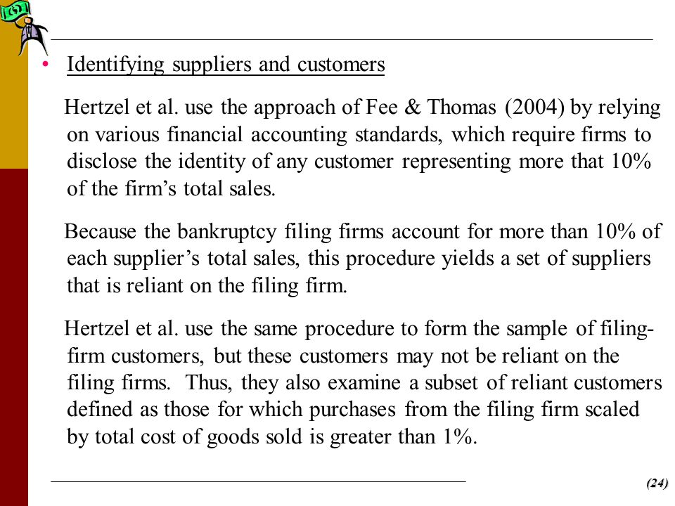 (24) Identifying suppliers and customers Hertzel et al.